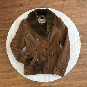 Burberry Brit Brown Shearling Coat Sz 6